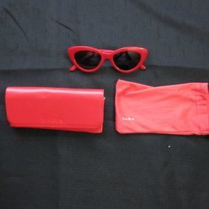 ZARA Red Cateye Snglasses with Case Plastic Frame